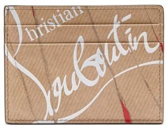 Christian Louboutin Kraft Kios Smooth Leather Cardholder - Mens - Beige