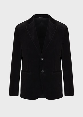 Giorgio Armani Single-Breasted Printed Velvet Jacket