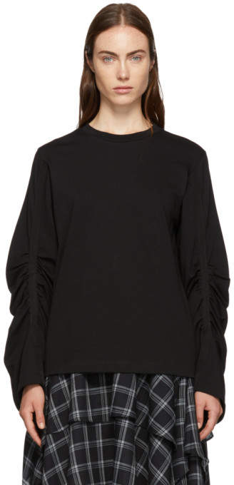 3.1 Phillip Lim Black Gathered Long Sleeve T-Shirt
