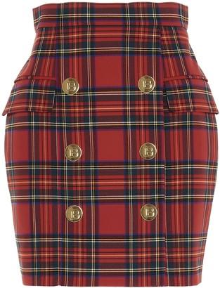 Balmain Button Detail Tartan Mini Skirt