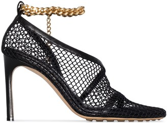 Bottega Veneta Chain-Trimmed 100mm Mesh Sandals