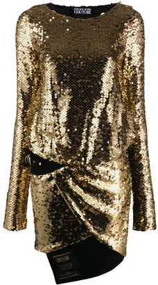 Versace Sequin-Embroidered Short Dress