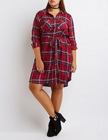 Charlotte Russe Plus Size Belted Plaid Shirt Dress
