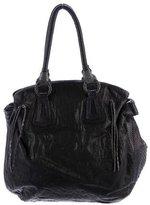 Carlos Falchi Python-Trimmed Leather Bag