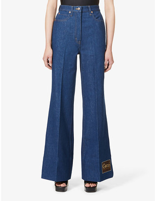 Gucci Logo-patch bootcut high-rise jeans