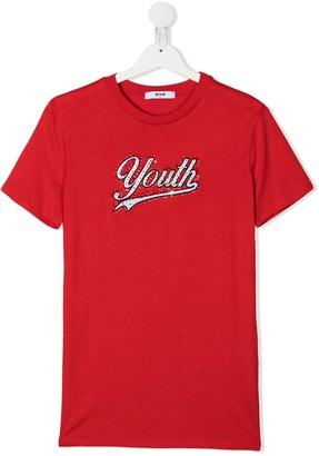Msgm Kids TEEN sequin embellished crew neck T-Shirt