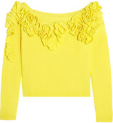 DELPOZO Off-the-shoulder Ruffled Basketweave Cotton Top - Yellow