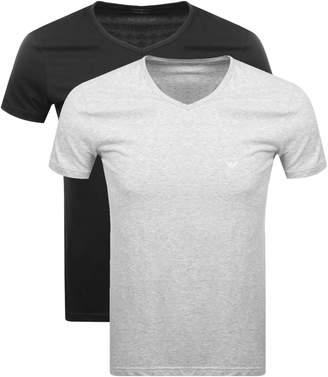 Giorgio Armani Emporio 2 Pack V Neck Lounge T Shirts Black