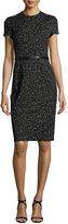 Narciso Rodriguez Short-Sleeve Jacquard Sheath Dress, Black
