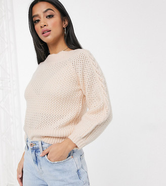 Miss Selfridge Petite cable knit sweater in blush pink