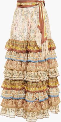 Zimmermann Tiered Printed Silk Maxi Skirt
