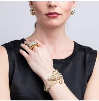 Kenneth Jay Lane Gold And Crystal Alligator Bracelet