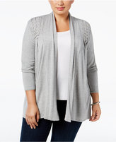 Belldini Plus Size Lace-Up Cardigan