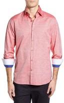 Stone Rose Men's Dobby Cotton & Linen Sport Shirt