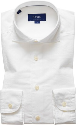Eton Soft Casual Contemporary Fit Solid Cotton & Silk Shirt