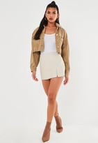 Missguided Stone Mock Croc Faux Leather Skort