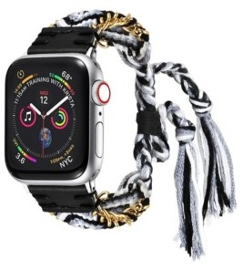 Posh Tech Men's and Women's Apple Black and White Friendship Cotton, Stainless Steel Replacement Band 44mm