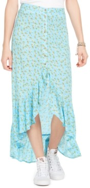Polly & Esther Juniors' High-Low Floral Print Midi Skirt