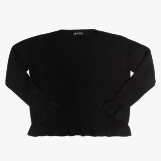 Alpini Knitwear Black Frilled Hem Jumper