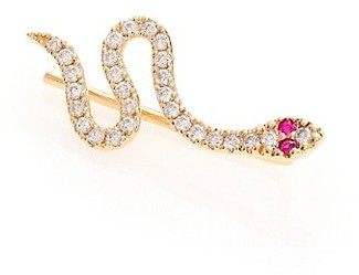 Sydney Evan Diamond, Ruby & 14K Yellow Gold Snake Single Ear Cuff