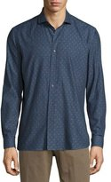 Robert Graham Peace Long-Sleeve Printed Woven Shirt, Denim
