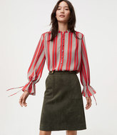 LOFT Spiced Stripe Covered Button Tie Cuff Blouse