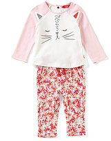 Joules Baby Girls Newborn-12 Months Amalie Cat Top & Patterned Pants Set