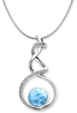 "Marahlago Larimar (12mm) & White Sapphire Accent Twist 21"" Pendant Necklace in Sterling Silver"