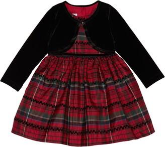 Pippa & Julie Kids' Velvet Cardigan & Plaid Dress Set