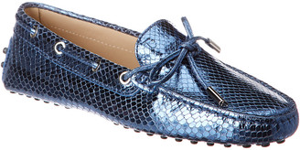 Tod's Gommino Snake-Embossed Leather Moccasin
