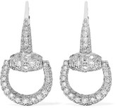 Gucci 18-karat White Gold Diamond Horsebit Earrings - one size