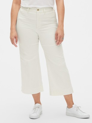 Gap High Rise Stripe Wide-Leg Crop Jeans