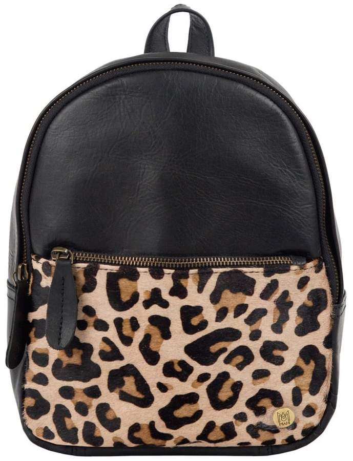 3310eecd30 MAHI Leather - Mini Backpack In Ebony Black Leather With Leopard Print Pony  Hair Front Pocket