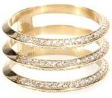 Ileana Makri 18kt Yellow Gold Triple Disc Ring With White Diamonds