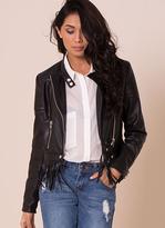 Missy Empire SP Collarless Tassel Hem Faux Leather Jacket