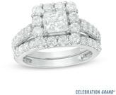 Zales Celebration Grand® 2-3/4 CT. T.W. Princess-Cut Diamond Bridal Set in 14K White Gold (I/I1)