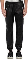 Ovadia & Sons Men's Leather Jogger Pants-BLACK