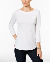 Charter Club Petite Button-Shoulder Top, Only at Macy's