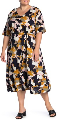 Junarose Jrjivas Patterned Tie Waist Midi Dress (Plus Size)