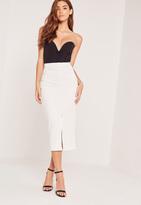Missguided Textured Split Front Midi Skirt White