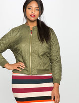 ELOQUII Plus Size Quilted Heart Bomber Jacket