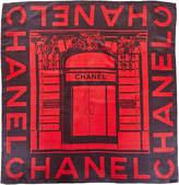 Chanel Black & Red Silk Scarf