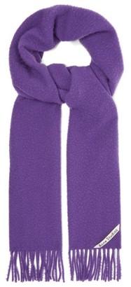 Acne Studios Holmes Logo-label Brushed Wool-twill Scarf - Mens - Purple