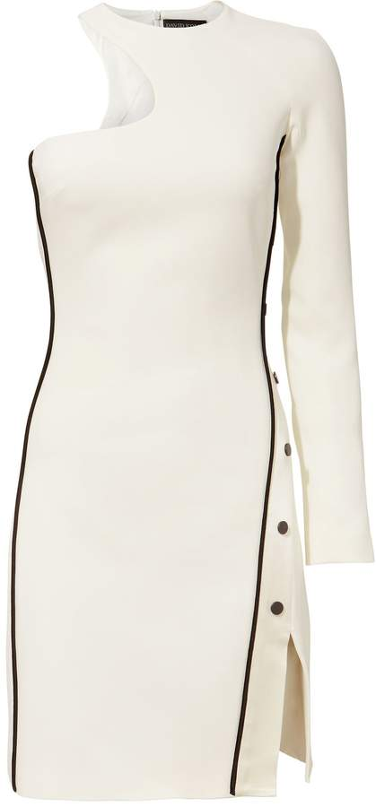 David Koma One Shoulder Snap Split Mini Dress