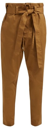 Colville - Belted High-rise Cotton-gabardine Trousers - Womens - Brown