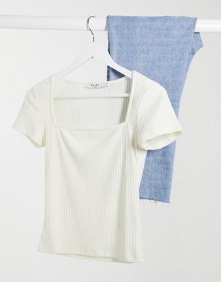 NA-KD square neck t-shirt in off white
