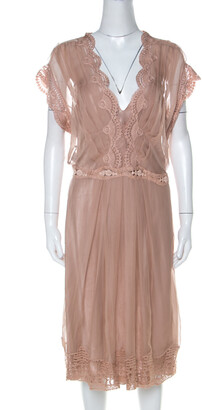 Alberta Ferretti Blush Pink Silk Chiffon Lace Detail Dress L