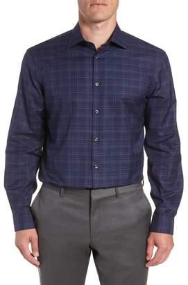 John Varvatos Windowpane Plaid Slim Fit Dress Shirt
