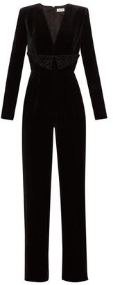 Raquel Diniz Lisa Glitter-embellished Silk-velvet Jumpsuit - Black Silver