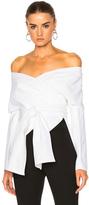 Rosetta Getty Cotton Faille Wrap Panel Jacket in White.